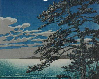 "Japanese Art Print ""Spring Moon at Ninomiya Beach"" by Kawase Hasui, woodblock print reproduction, asian art, cultural art, ocean shore"