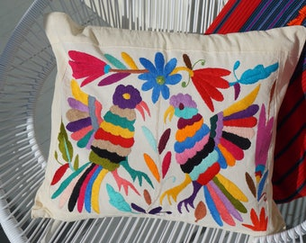 Mexican Otomi Hand Embroidered Birds Pillow Cover