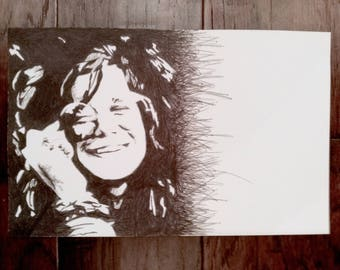 Original Janis Joplin pen & ink