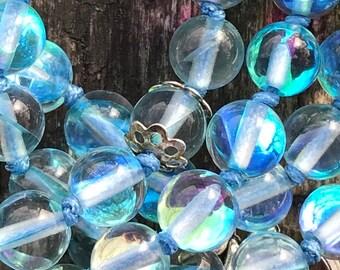 Aqua Aura Mala with 108 semiprecius gemstones