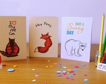 Set of 3 drawn cards for an occasion