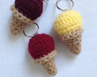 sweet, even crocheted ice cream cones - keychain
