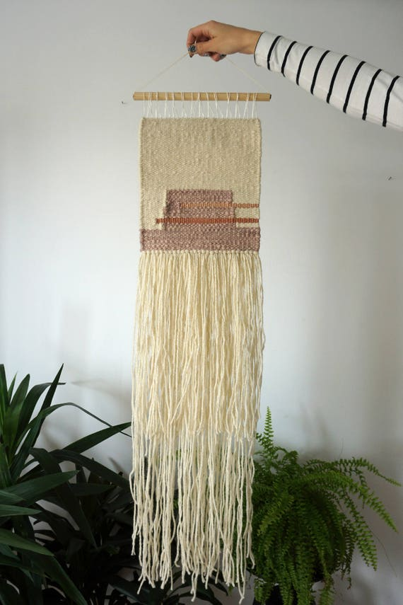 Avocado | Blackberry | Handwoven wall hanging made of plant dyed yarns