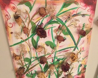 Dried Flower Roses on Canvas
