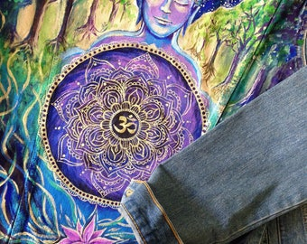 Buddha Namaste cosmos hand painted jacket (Please read the description !)