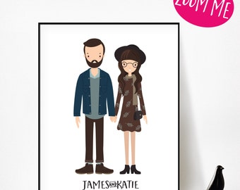 Custom Couple Illustration,Custom Couple portrait, Custom Family illustration,Custom Couple Portrait,Custom Family Portrait,Anniversary Gift