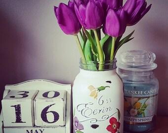 Hand Decorated Emma Bridgewater Style Wallflower Mason Jar kilner Vase