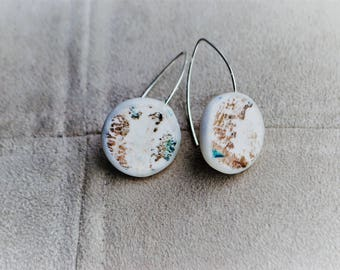 925 Silver earrings polymer clay white and Tan hand-painted unique piece