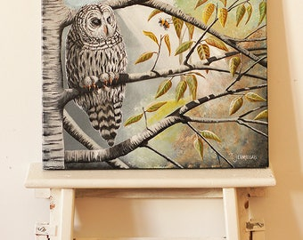 Owl and bumble bee - original painting