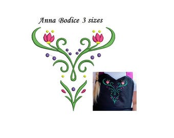 Anna Frozen Embroidery Design Winter Bodice - 3 sizes - Ice queen princess skirt dress coronation