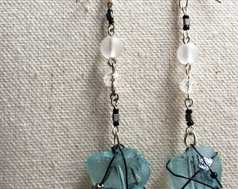 Sea Glass Crystal Drop Earrings