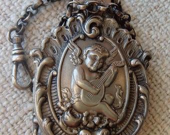 Antique Vintage Silver Metal Chatelaine Clip Two Chains Art Nouveau Cherub Design Watch Sewing Accessory