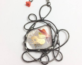 Gold Insect | Fused Glass Pendant | Confetti Glass