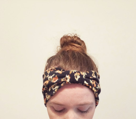 Black floral Print Headband orange olive Yoga boho Cotton women's hair accessory headwrap workout headband jogging accessory gift for her