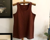 hemp and organic cotton stretch tank top - hand dyed in brown - size large - unisex
