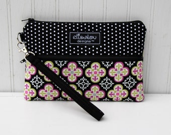 Padded Wristlet Mini Purse- Black Dot & Zetta