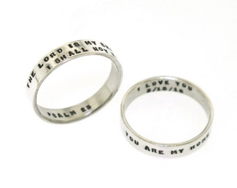 Custom Ring,  Two Line Posey Ring, handstamped ring, sterling silver band made with your personalized message (tiny text)