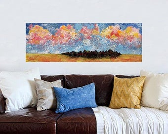 Multicolored Sky, Landscape Painting, Original Art, Original Painting, 12x36, Impressionist, Trees, Clouds, Home Decor, Office Art, Winjimir