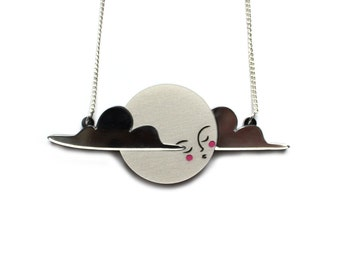 Moon Necklace -  pearl acrylic laser cut necklace platinum pearl pearlised and mirror clouds moon lady hand painted