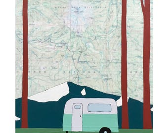 Mt Hood Camper Map Print // Wanderlust // Travel Art // Oregon // NW Art // Camper Art // Airstream Art // Rachel Austin Art 11 x 14