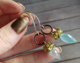 Dangle Earrings, Mixed Metal, Sterling Silver, Blue and Green, Drop Earrings, Lime Green, Aqua blue, Teardrop Earrings, August Birthstone