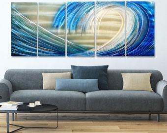 Huge Multi Panel Modern Metal Wall Art,  Blue & Silver Abstract Ocean Metal Painting, Metal Wall Sculpture - Shoot the Curl XL by Jon Allen