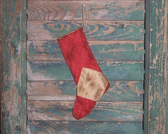 Small Christmas Stocking Ornament Primitive Christmas Ornament Red Stocking Antique Quilt Christmas Decor, Red and White - READY TO SHIP