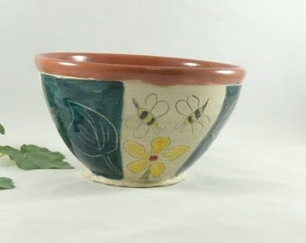 Pottery Bowl with bees Ceramic Bowl for Cereal, Soup or Salad - Artistic Decorative Kitchen Bowl - Salad Dish - Small Art Bowl  747
