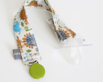 Pacifier clip - snap - enamel clip - dinosaur - blue - brown - green - cotton fabric - baby - baby girl - baby gift - baby shower - dummy