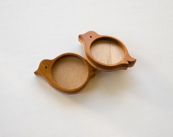 Bezel mounting fine finished No laser hardwood  - Mahogany and Maple - 25.5 mm - Circle - (X12-MMp) - Set of 2