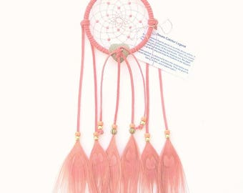 Coral Dream Catcher, Peacock Eyes Feathers