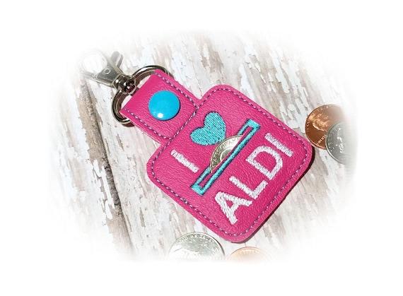 Aldi Quarter Keeper, Coin Holder Keychain, I Heart Aldi, Key Fob, Coin Keeper