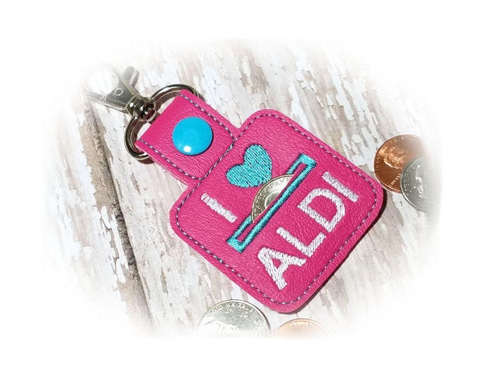 Pink Quarter Keeper, Coin Holder Keychain, I heart Keychain, Coin Keeper Key Fob, Quarter Keeper Keychain