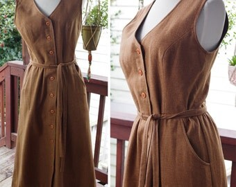 CHESTNUT 1960's Vintage Brown Wool Sleeveless Button Front Jumper Dress w/ Belt // by LANZ // size Small Medium