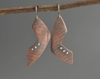 Copper Earrings, asymmetrical, triangle dangle, geometric, long drop, oxidized, industrial, metalwork, rustic, handmade, heat rivets, pins