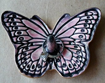 Ceramic Butterfly Ring Holder Ring Dish Ring bowl Dusty Rose edged in Gold