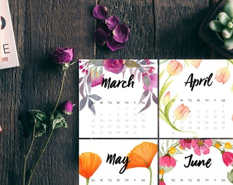 Floral Printable Calendar 2017, CD Calendar for Desktop, 2017 Desk Calendar, Watercolor Flowers, Instant Digital Download by piddix