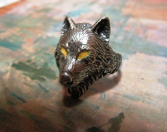Wolf Ring Sterling Silver With Yellow Eyes