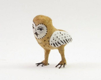 Vintage Inspired Spun Cotton Barn Owl Ornament/Figure