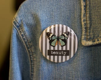 "Cheapie button! ""Beauty"" 2.25"" Button With Light Blue Butterfly!"