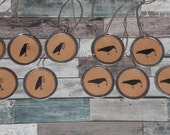 Set of 10 - Crow with Primitive Star - Metal Rimmed Hang Tags - Rustic Gift Ties for Dollies Mini Tree Ornies Embellishments Scrapbooking
