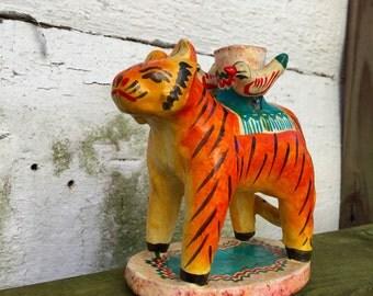 Mexican Folk Art Tiger Candle Holder Vintage
