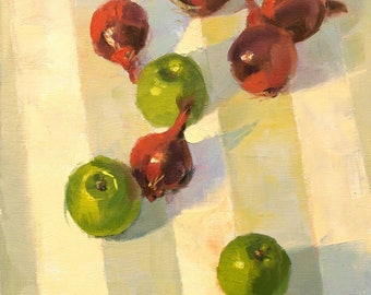 Red and Green, still life oil painting, direct from artist