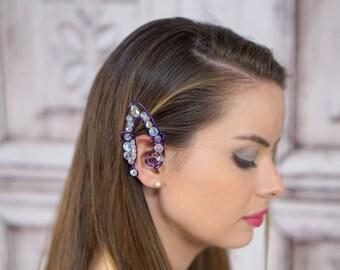 Elven Ear Cuffs, Fairy Ear Cuffs, Plum and Iridescent Crystals, Purple, Seelie, Ear Cuff, Ear Wrap, Fantasy, Costume Jewelry, Cosplay, Larp