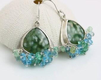 Ocean Jasper Dainty Dangles with Swiss Blue Topaz and Emeralds