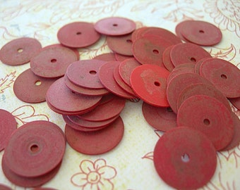 Vintage African Sequins Vinyl Vulcanite RED large flat 15mm lot of 50