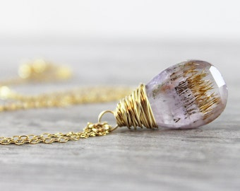 Purple Amethyst Necklace, Moss Gemstone Necklace, 14kt Gold fill Necklace, Wire Wrap Necklace, Brown Orange Necklace, February Birthstone