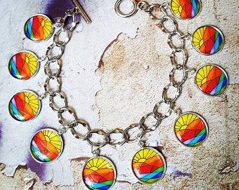 Art Deco Sun Rays Bracelet