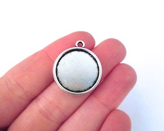 10 18mm Double Sided Round Pendant Settings, Silver Plated, B94