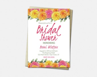 Bridal Shower Invitations - Floral Bridal Shower Invitation - Rustic Bridal Shower Invitation - Dahlia Flowers - Wedding Shower Invitation